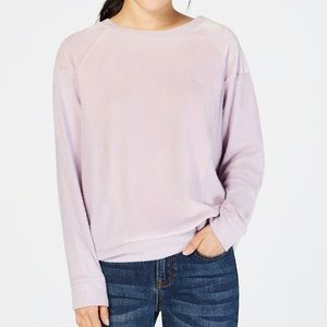 Hippie Rose Junior Velvet Raglan Sweatshirt Lilac